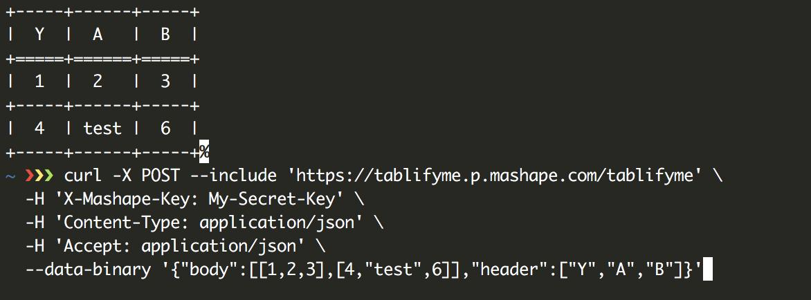 Tablifyme API